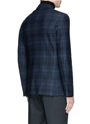 Back View - Click To Enlarge - Canali - Check wool-cotton jersey blazer