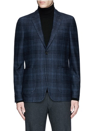 Main View - Click To Enlarge - Canali - Check wool-cotton jersey blazer