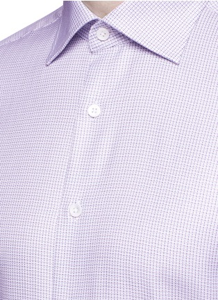 Detail View - Click To Enlarge - Canali - Slim fit micro check cotton shirt
