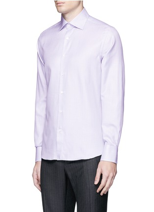 Front View - Click To Enlarge - Canali - Slim fit micro check cotton shirt