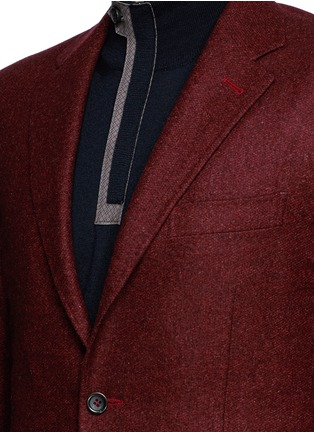 Detail View - Click To Enlarge - Canali - 'Kei' wool blend herringbone soft blazer