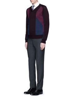 Canali Panelled colourblock wool knit sweater