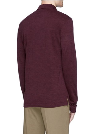 Back View - Click To Enlarge - Canali - Fleece wool piqué polo shirt