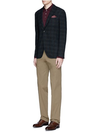 Figure View - Click To Enlarge - Canali - Fleece wool piqué polo shirt