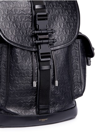 Detail View - Click To Enlarge - Givenchy - 'Obsedia' star and trident embossed leather backpack