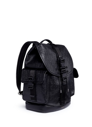 Figure View - Click To Enlarge - Givenchy - 'Obsedia' star and trident embossed leather backpack