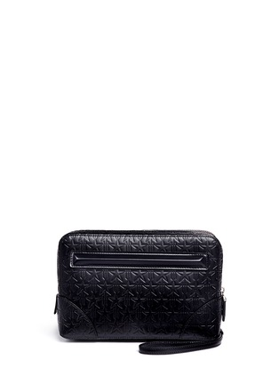Back View - Click To Enlarge - Givenchy - 'LC' embossed star and trident leather zip pouch