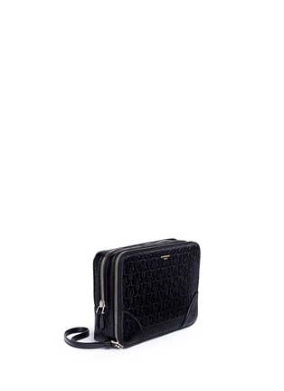 Front View - Click To Enlarge - Givenchy - 'LC' embossed star and trident leather zip pouch