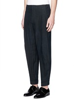 High waist pleat front cropped linen pants