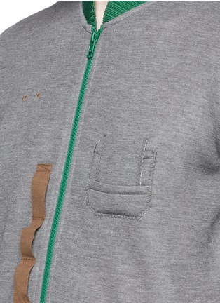 Detail View - Click To Enlarge - kolor - Contrast collar zip T-shirt