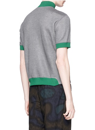 Back View - Click To Enlarge - kolor - Contrast collar zip T-shirt