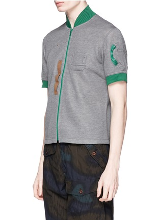 Front View - Click To Enlarge - kolor - Contrast collar zip T-shirt