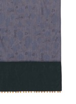 Medallion cupro trim camouflage cotton chambray scarf