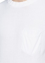 Contrast pocket horizontal knit T-shirt