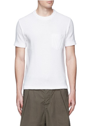 Main View - Click To Enlarge - kolor - Contrast pocket horizontal knit T-shirt