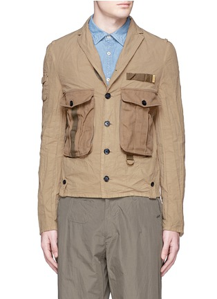 Main View - Click To Enlarge - kolor - Contrast pocket crinkle military jacket