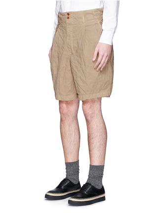 Front View - Click To Enlarge - kolor - Elasticated back crinkle Bermuda shorts