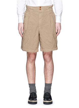 Main View - Click To Enlarge - kolor - Elasticated back crinkle Bermuda shorts