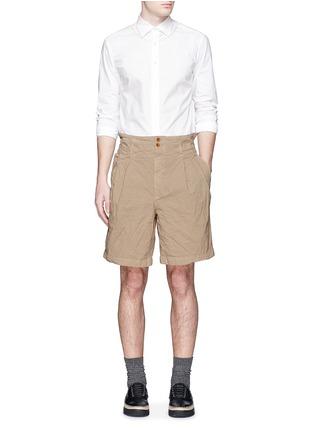Figure View - Click To Enlarge - kolor - Elasticated back crinkle Bermuda shorts