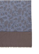 Medallion trim camo print chambray scarf