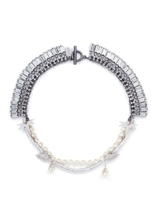 Main View - Click To Enlarge - Venna - Crystal pavé wing faux pearl fringe necklace