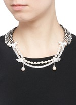 Crystal pavé wing faux pearl fringe necklace
