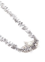 Crystal faux pearl star leaf chain necklace
