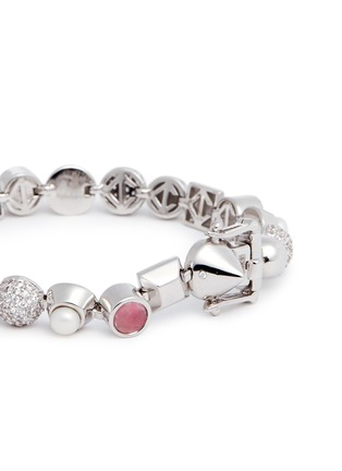 Detail View - Click To Enlarge - Eddie Borgo - 'Collage' rose quartz pearl bracelet