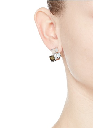 Figure View - Click To Enlarge - Eddie Borgo - 'Mosaic Stud' rose quartz cuboid earrings