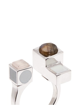 Detail View - Click To Enlarge - Eddie Borgo - 'Mosaic' rose quartz cuboid ring