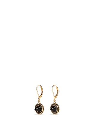 Main View - Click To Enlarge - Eddie Borgo - 'French Clip Cone Day' onyx drop pavé earrings