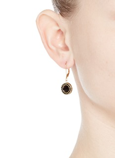 EDDIE BORGO 'French Clip Cone Day' onyx drop pavé earrings