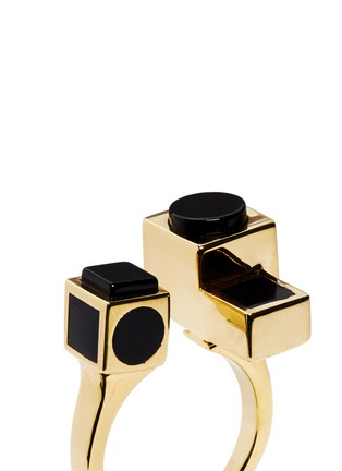 Detail View - Click To Enlarge - Eddie Borgo - 'Mosaic' onyx cuboid ring