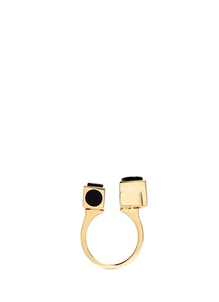 Figure View - Click To Enlarge - Eddie Borgo - 'Mosaic' onyx cuboid ring