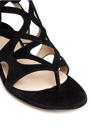 Detail View - Click To Enlarge - Paul Andrew - 'Lila' cutout suede caged sandals