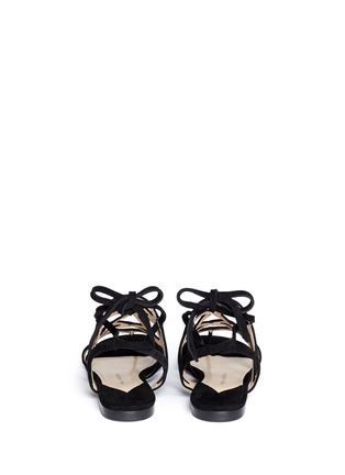 Back View - Click To Enlarge - Paul Andrew - 'Lila' cutout suede caged sandals