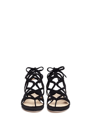 Front View - Click To Enlarge - Paul Andrew - 'Lila' cutout suede caged sandals