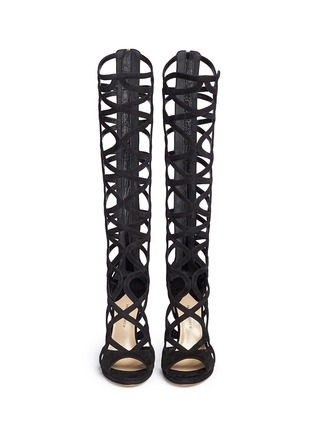Front View - Click To Enlarge - Paul Andrew - 'Mia' knee high suede gladiator sandals