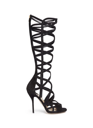 Main View - Click To Enlarge - Paul Andrew - 'Mia' knee high suede gladiator sandals