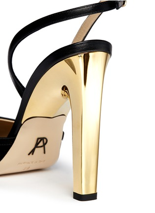 Detail View - Click To Enlarge - Paul Andrew - 'Piume' 24k gold dipped heel feather satin sandals