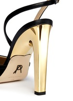 'Piume' 24k gold dipped heel feather satin sandals