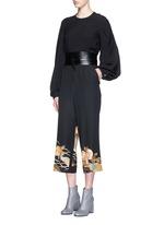One of a kind kimono embroidery hem pants