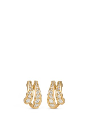 Main View - Click To Enlarge - Fernando Jorge - 'Stream Doubled' diamond 18k yellow gold hoop earrings