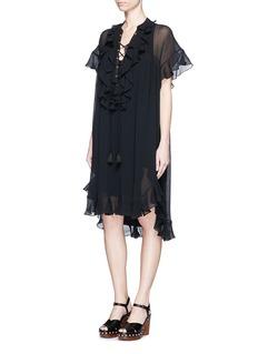 CHLOÉRuffle lace-up cotton crépon dress