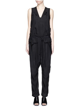 Main View - Click To Enlarge - Chloé - Snake effect drop crotch cloqué drawstring jumpsuit