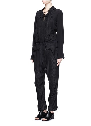 Figure View - Click To Enlarge - Chloé - Snake effect drop crotch cloqué drawstring jumpsuit