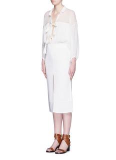 CHLOÉBow tie cotton crépon gauze blouse
