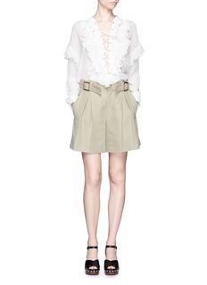CHLOÉRuffle lace-up cotton crépon blouse