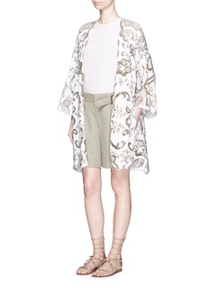 Chloé Floral embroidery cotton-linen overcoat
