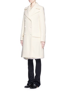 CHLOÉ Two piece shearling gilet double-breasted wool coat